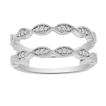 1/8ct tw Diamond Wedding Ring Guard in 14K White Gold