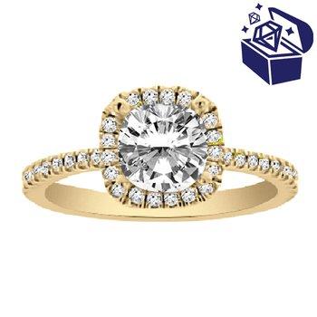 Treasure Hunt Value 1/4ct tw Diamond Halo Engagement Ring Setting in 14K Yellow Gold