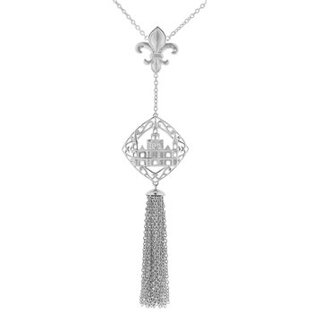 .01ct tw Diamond Nola Collection Cathedral and Fleur De Lis Tassel Necklace in Sterling Silver