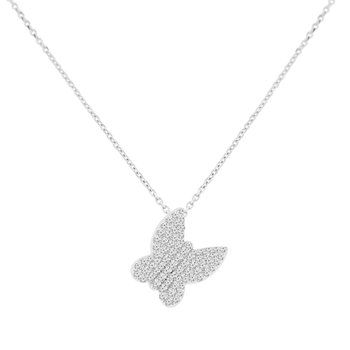 3/8ct tw NewBorn Lab Created Diamond Butterfly Necklace in 14K White Gold
