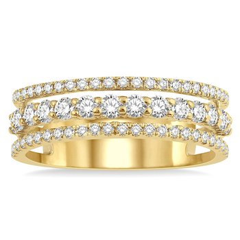 3/4ct tw Diamond Stacked Triple Ring in 14K Yellow Gold