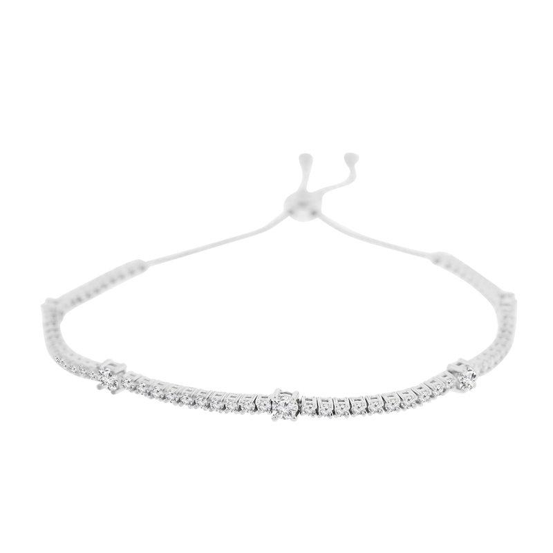 2ct tw NewBorn Lab Created Diamond Bolo Bracelet in 14K White Gold