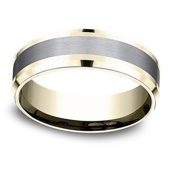 7mm Wedding Ring in Grey Tantalum & 14K Yellow Gold