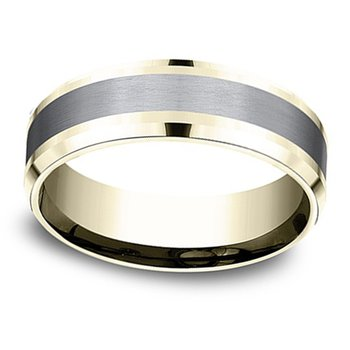 7mm Wedding Ring in Grey Tantalum & 14K Yellow Gold