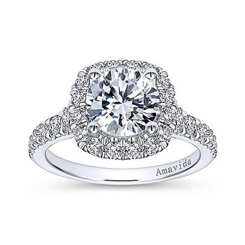 7/8ct tw Diamond Halo Engagement Ring Setting in 18K White Gold