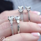 1 1/8ct tw Diamond Three Stone Engagement Ring in 19K White Gold