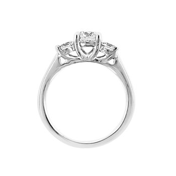 1 1/8ct tw Diamond Three Stone Engagement Ring in 19K White Gold
