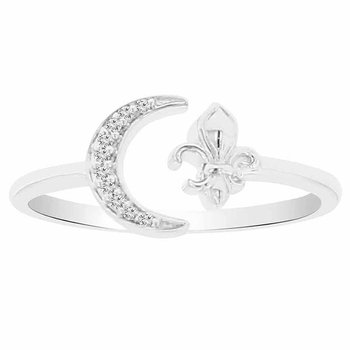 .03ct tw Diamond Moon & Back Fleur De Lis Ring in Sterling Silver