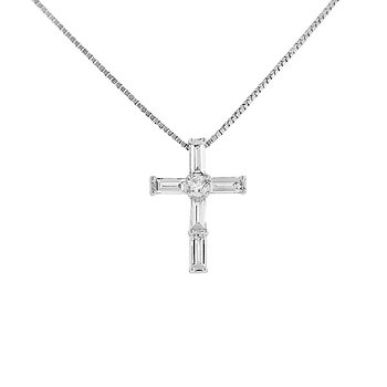 1/2ct tw Diamond Cross Necklace in 18K & 14K White Gold