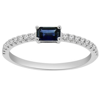 1/2ct tw Diamond &  Blue Sapphire Stackable Ring in 14K White Gold