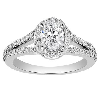 1ct tw NewBorn Lab Created Diamond Halo Engagment Ring in 14K White Gold