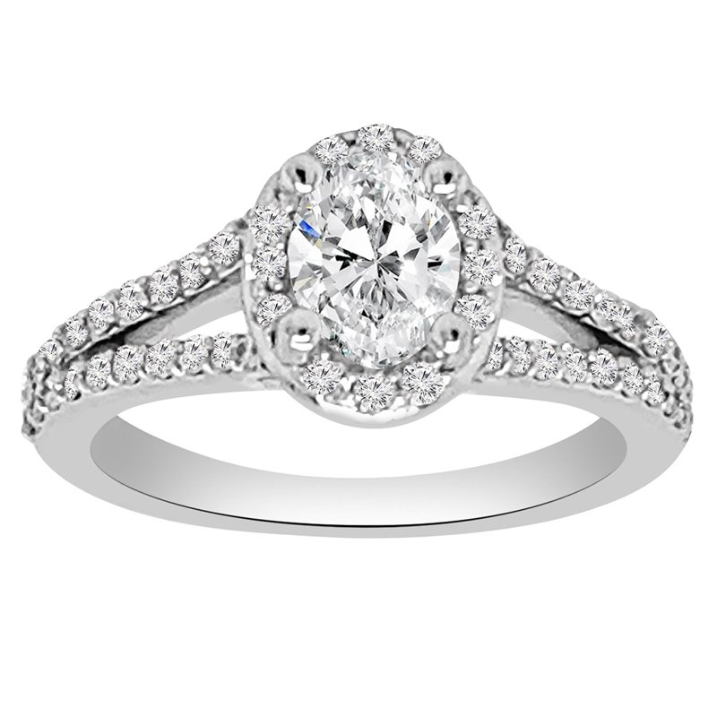 1ct tw NewBorn Lab Created Diamond Halo Engagment Ring in 14K White Gold