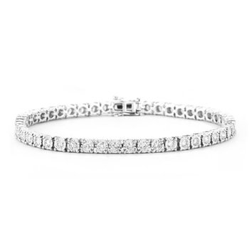 3ct tw Diamond Tennis Illusion Set Bracelet in 14K White Gold