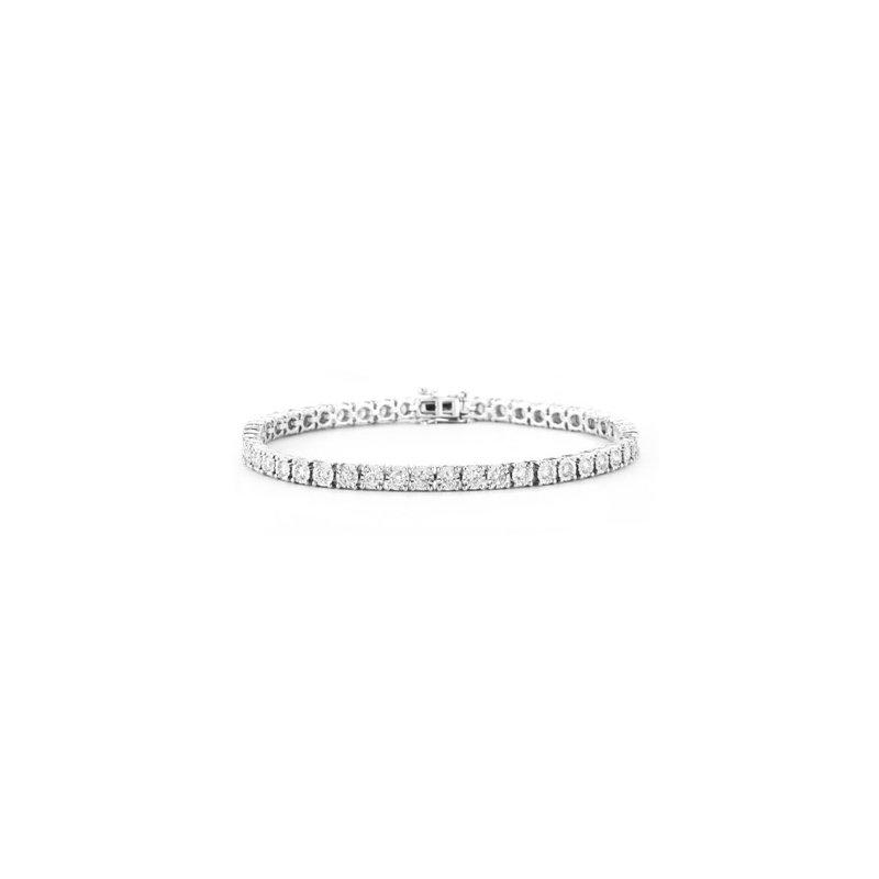 3ct tw Diamond Tennis Illusion Set Bracelet in 14K White Gold