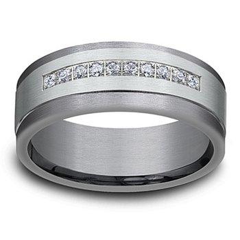 1/5ct tw Diamond Wedding Ring in 14K White Gold & Tantalum