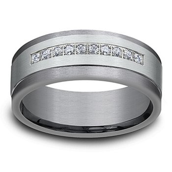 1/5ct tw Diamond Wedding Ring in 14K White Gold & Tantalum