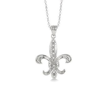 .05ct tw Diamond Fleur de Lis Necklace in Sterling Silver