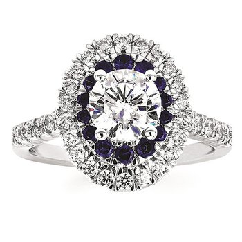1/2ct tw Diamond & Blue Sapphire Halo Engagement Ring Setting in 14K White Gold