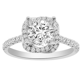 1 1/2ct tw NewBorn Lab Created Diamond Halo Engagement Ring in 14K White Gold
