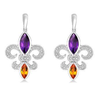 .05ct tw Diamond, Amethyst, & Citrine Fleur de Lis Earrings in Sterling Silver