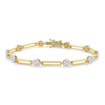 1 1/5ct tw Diamond Thousand Points of Light Bracelet in 14K White & Yellow Gold