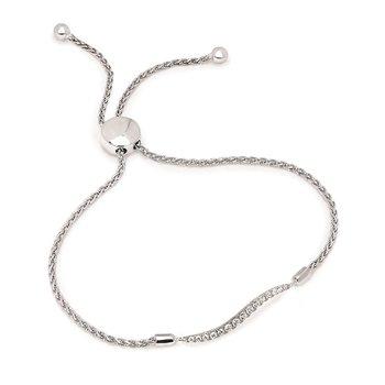 1/5ct tw Diamond Bar Bolo Bracelet in Sterling Silver