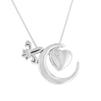 1/8ct tw Diamond Moon & Back Necklace in Sterling Silver & 10K Rose Gold