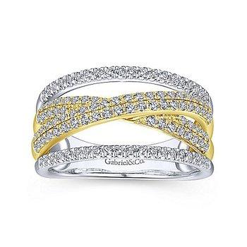 5/8ct tw Diamond Fashion Ring in 14K White & Yellow Gold