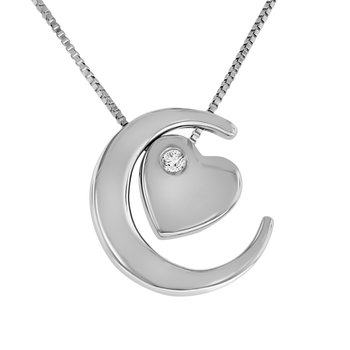 .03ct tw Diamond Moon & Back Necklace in Sterling Silver