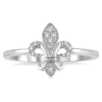 1/14ct tw Diamond Fleur De Lis Ring in 10K White Gold