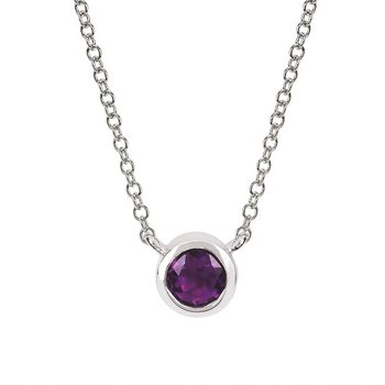 February Birthstone Necklace in 10K White Gold