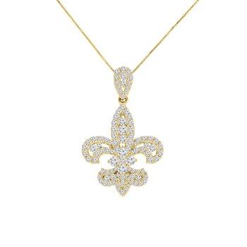 1ct tw Diamond Fleur De Lis Necklace in 14K Yellow Gold