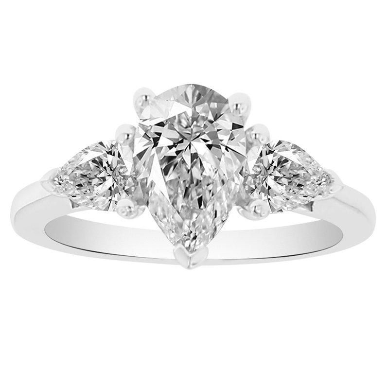 2 1/3ct tw NewBorn Lab Created Diamond Three Stone Engagement Ring in 14K White Gold