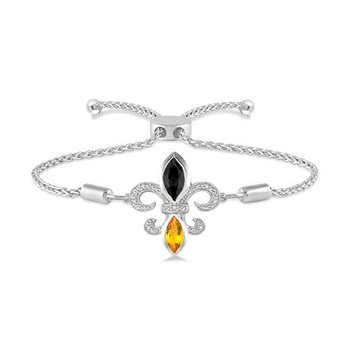 .06ct tw Diamond, Black Onyx, & Citrine Fleur De Lis Bracelet in Sterling Silver