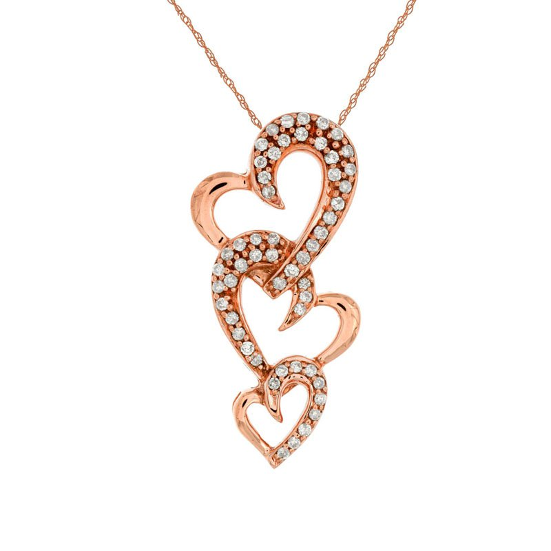 1/4ct tw Diamond  Heart Necklace in 14K Rose Gold