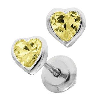 November Birthstone Heart Earrings in Sterling Silver