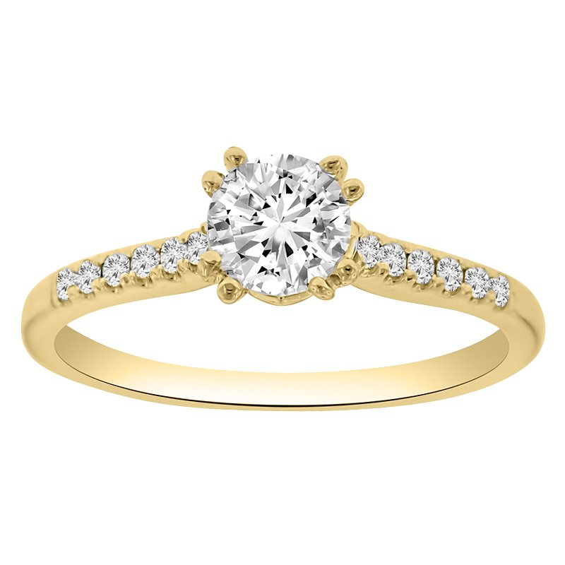 1/10ct tw Diamond Engagement Ring Setting in 18K Yellow Gold