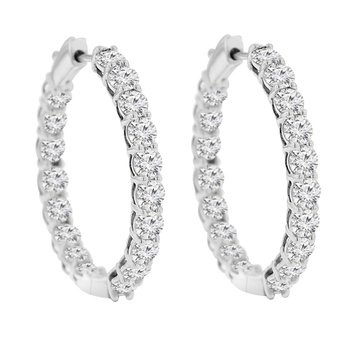 6ct tw Diamond Hoop Earrings in 14K White Gold
