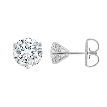 3ct tw Diamond Solitaire Stud Earrings in 14K White Gold