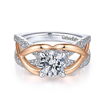 1 1/3ct tw Diamond Engagement Ring in 14K White & Rose Gold