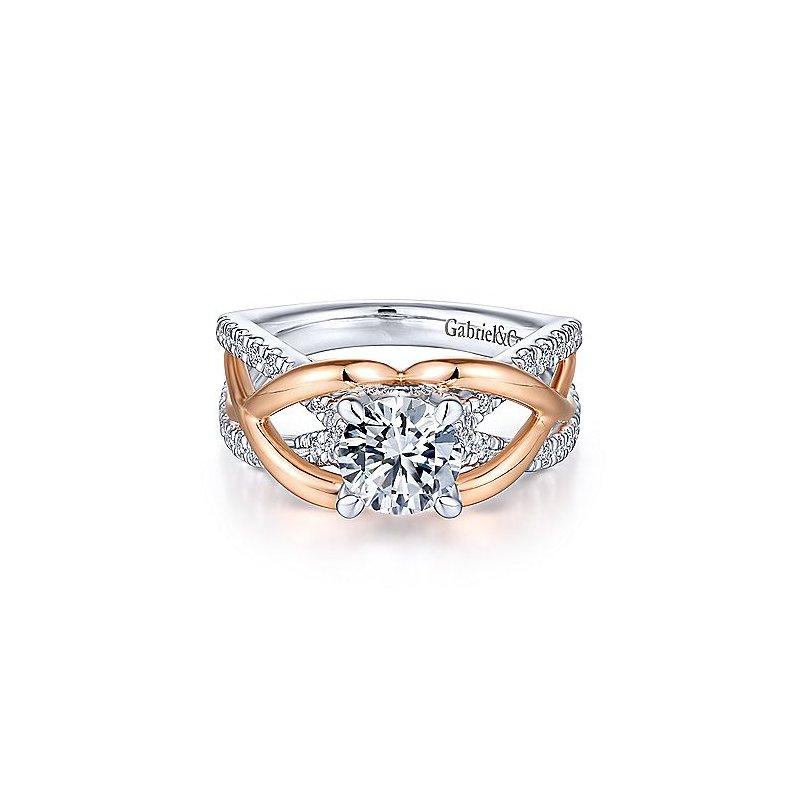 3/8ct tw Diamond Engagement Ring Setting in 14K White & Rose Gold
