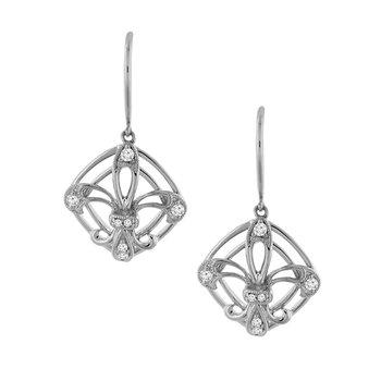 1/8ct tw Diamond Fleur De Lis Earrings in 14K White Gold
