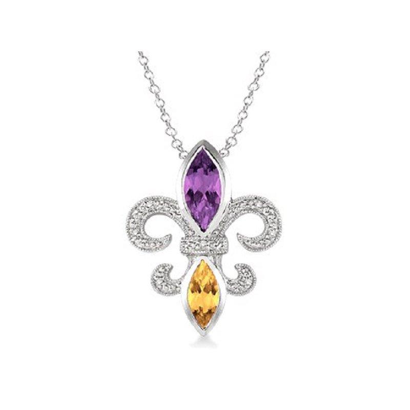 .03ct tw Diamond, Amethyst, & Citrine Fleur de Lis Necklace in Sterling Silver