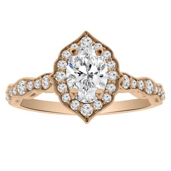 1ct tw NewBorn Lab Created Diamond Halo Engagement Ring in 14K Rose Gold