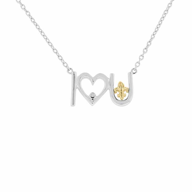 .01ct tw Diamond Heart & Fleur De Lis Necklace in Sterling Silver & 10K Yellow Gold