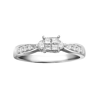 1/6ct tw diamond promise ring featuring 4 princess & 8 round cut diamonds in sterling silver.Ladies diamond promise ring featuring 4 princess cut diamonds and 8 round cut diamonds in sterling silver.  1/6carat total diamond weight.shelf stock 1-piece
