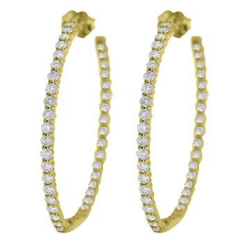 3 1/4ct tw Diamond Hoop Earrings in 14K Yellow Gold
