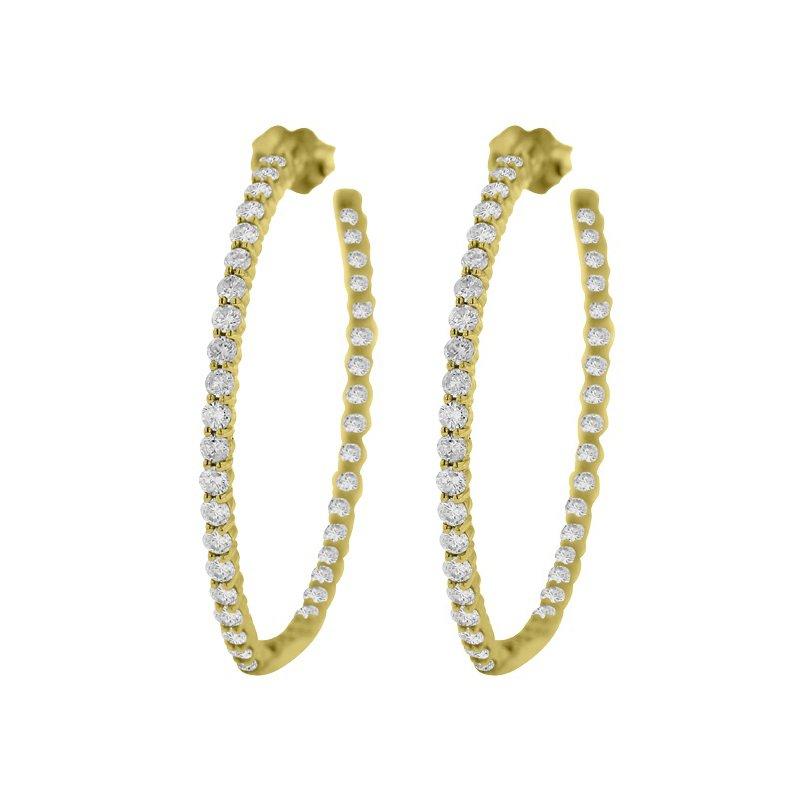 3 1/4ct tw Diamond Hoop Earrings in 14K Yellow Gold