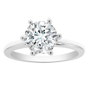 Solitiare Engagment Ring Setting in 14K White Gold