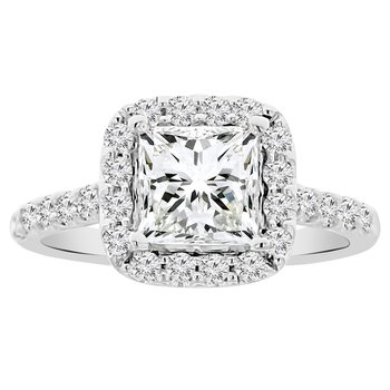 2 1/8ct tw NewBorn Lab Created Diamond Halo Engagement Ring in 14K White Gold